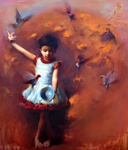 Figurative Oil Art Painting title 'Around The Bowl' by artist Pramod Kurlekar