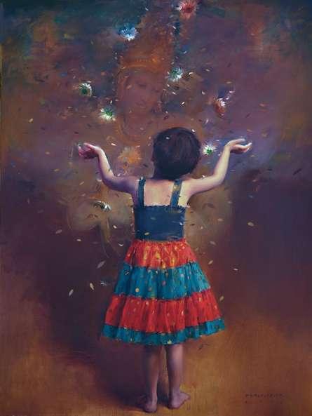 Grant Me Peace | Painting by artist Pramod Kurlekar | oil | Canvas