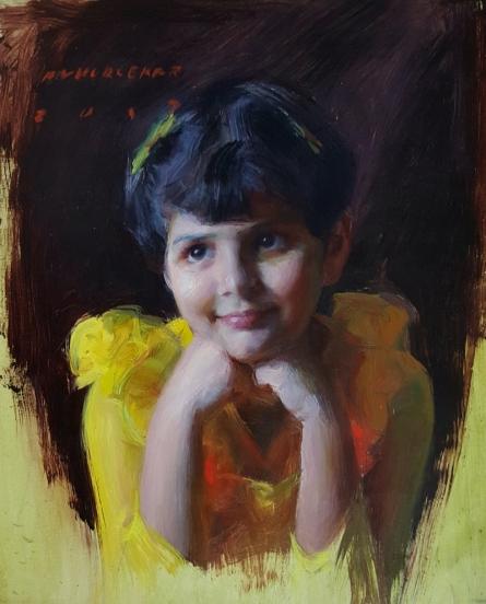 Figurative Oil Art Painting title 'A Girl' by artist Pramod Kurlekar