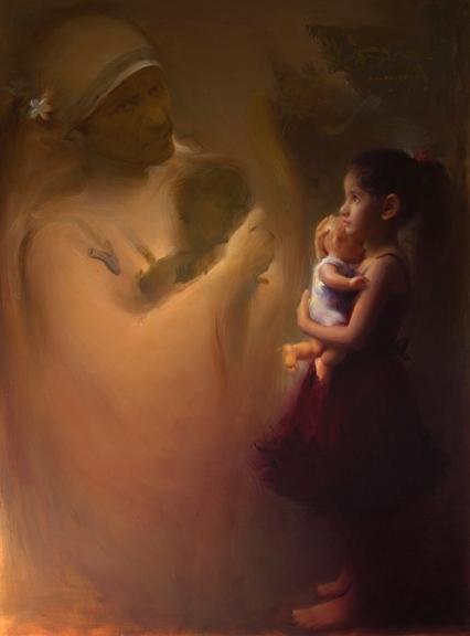 Figurative Oil Art Painting title 'Beyond Womb' by artist Pramod Kurlekar