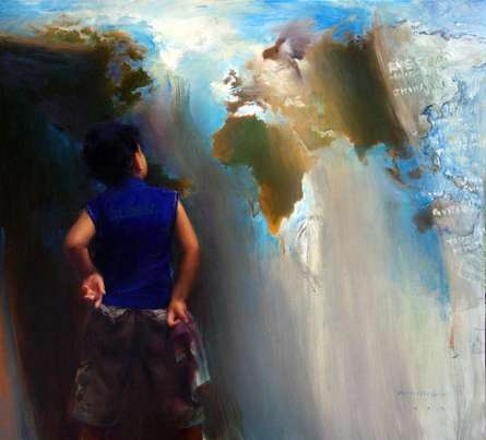 Figurative Oil Art Painting title 'Borderless' by artist Pramod Kurlekar