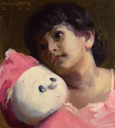 Figurative Oil Art Painting title Dolly by artist Pramod Kurlekar