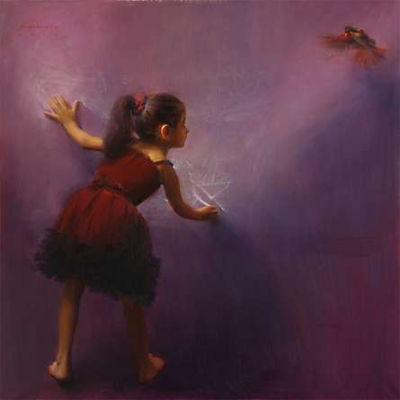 Figurative Oil Art Painting title 'Draw Wings' by artist Pramod Kurlekar
