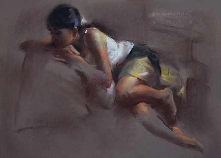 Figurative Oil-pastel Art Painting title 'Figure X' by artist Pramod Kurlekar