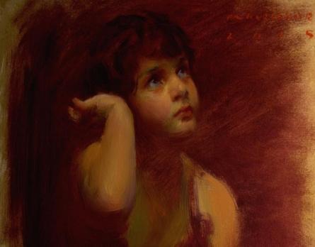 Figurative Oil Art Painting title 'Innocence' by artist Pramod Kurlekar