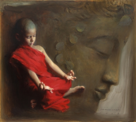 Religious Oil Art Painting title 'Meditated' by artist Pramod Kurlekar