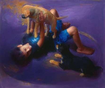 Figurative Oil Art Painting title 'Offline' by artist Pramod Kurlekar