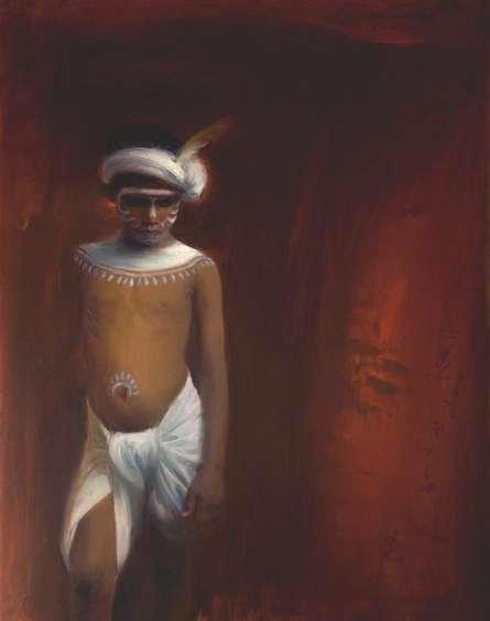Figurative Oil Art Painting title The Hunter by artist Pramod Kurlekar