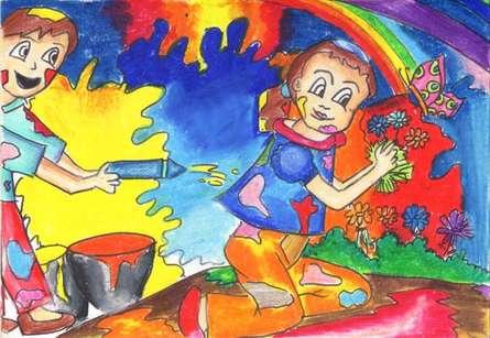 Holi | Drawing by artist Harshavarshini Madhavan |  | oil-pastel | Paper