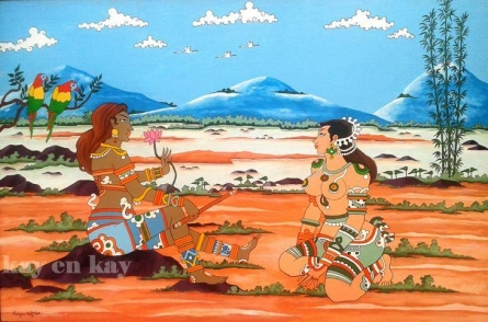 Murmurs Of Vrindavan | Painting by artist Narayanankutty Kasthuril | acrylic | Canvas Board