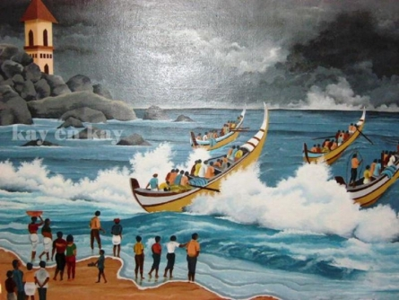 Seascape Acrylic Art Painting title 'Cloudy Beach' by artist Narayanankutty Kasthuril