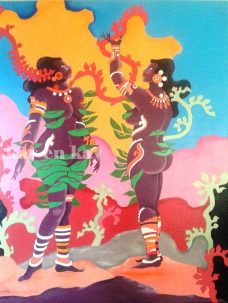 Fantasy Acrylic Art Painting title Tribal Dreams by artist Narayanankutty Kasthuril