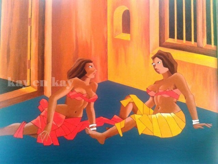 Narayanankutty Kasthuril | Acrylic Painting title Village Harlots on Canvas Board | Artist Narayanankutty Kasthuril Gallery | ArtZolo.com