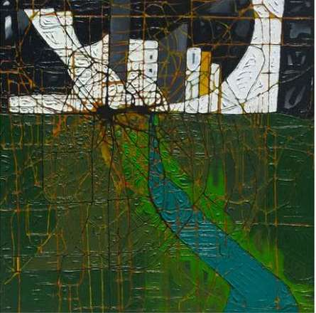 Green Abstract | Painting by artist Santanu Dhar | acrylic | Canvas