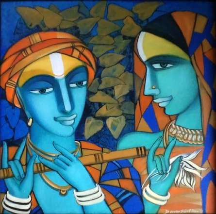 Figurative Acrylic Art Painting title 'Composition 2' by artist Dewashish Das