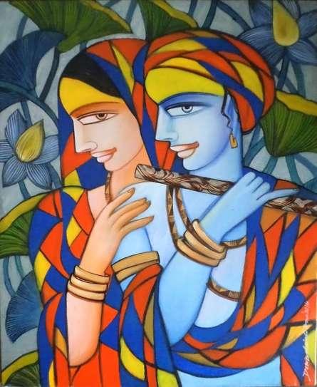Figurative Acrylic Art Painting title 'Composition 3' by artist Dewashish Das