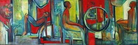 Metro Life | Painting by artist Pijush Kanti Bera | oil | Canvas