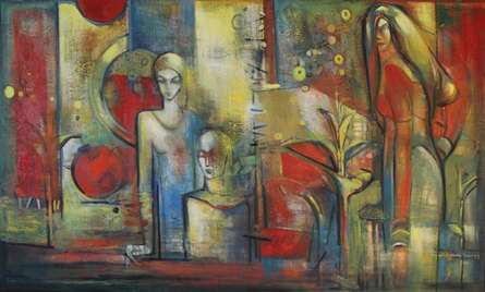 Figurative Oil Art Painting title 'Mother And Child' by artist Pijush Kanti Bera