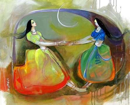 Figurative Acrylic Art Painting title Phugadi 2 by artist Sardar Jadhav