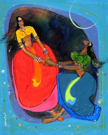 Figurative Acrylic Art Painting title 'Phugadi 3' by artist Sardar Jadhav