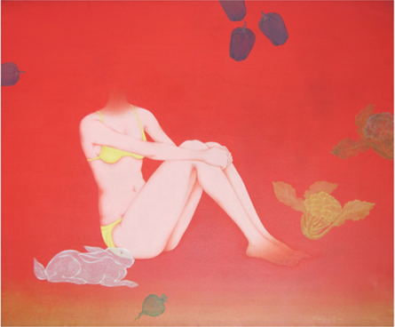 Fantasy Acrylic Art Painting title 'Market' by artist Ram Prasad Halder