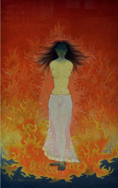 Fantasy Tempera Art Painting title 'Seeta' by artist Ram Prasad Halder