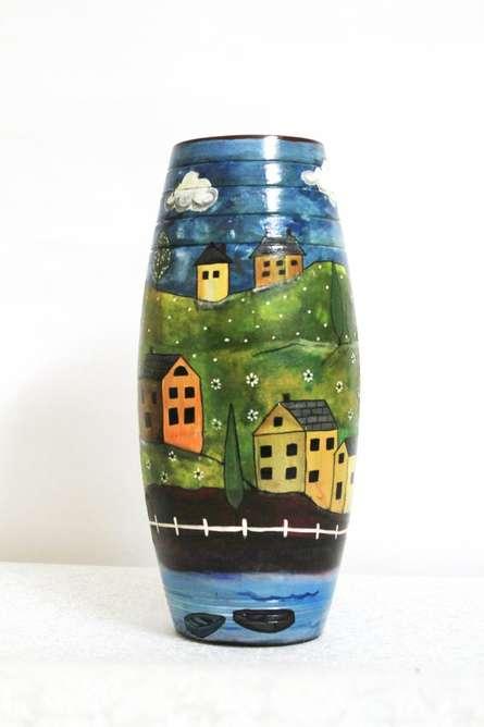 Akanksha Rastogi | Hand Painted Valley Vase Craft Craft by artist Akanksha Rastogi | Indian Handicraft | ArtZolo.com