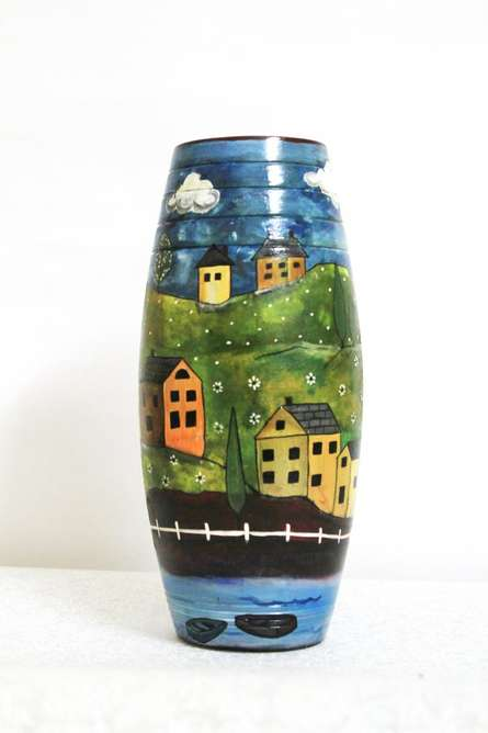 Hand Painted Valley Vase | Craft by artist Akanksha Rastogi | Terracotta