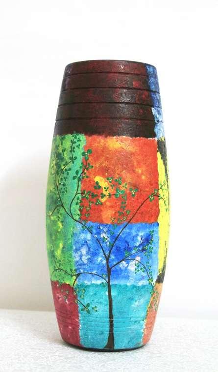 Hand Painted Nature Vase | Craft by artist Akanksha Rastogi | Terracotta