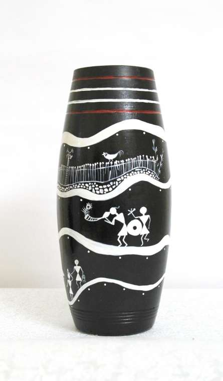 Akanksha Rastogi | Hand Painted Tribal Vase Ii Craft Craft by artist Akanksha Rastogi | Indian Handicraft | ArtZolo.com