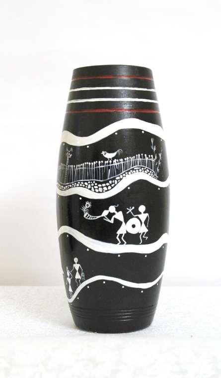 Hand Painted Tribal Vase Ii | Craft by artist Akanksha Rastogi | Terracotta