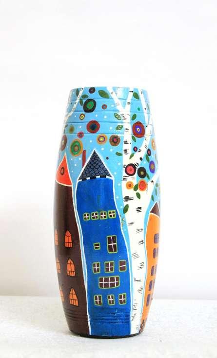Hand Painted High Rise Vase | Craft by artist Akanksha Rastogi | Terracotta