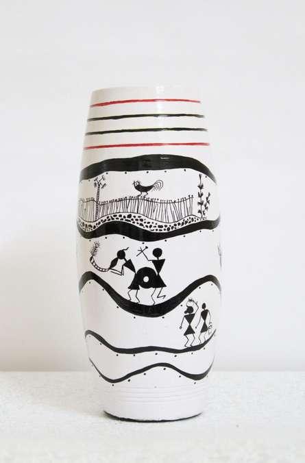 Hand Painted Tribal Vase I   terracota Handicraft   By Akanksha Rastogi