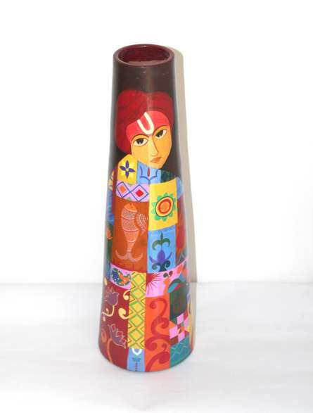 Akanksha Rastogi | Hand Painted Krishna Vase Craft Craft by artist Akanksha Rastogi | Indian Handicraft | ArtZolo.com