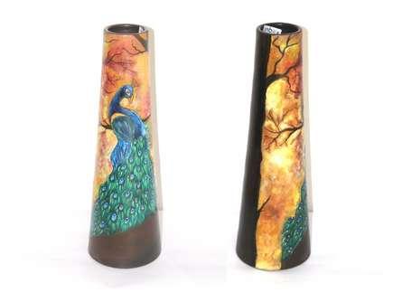 Hand Painted Mayur Vase Ii | Craft by artist Akanksha Rastogi | Terracota