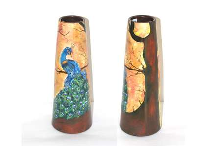 Hand Painted Mayur Vase I | Craft by artist Akanksha Rastogi | Terracota