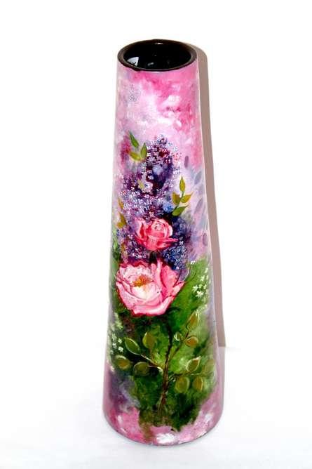 Hand Painted Pink Vase | Craft by artist Akanksha Rastogi | Terracota