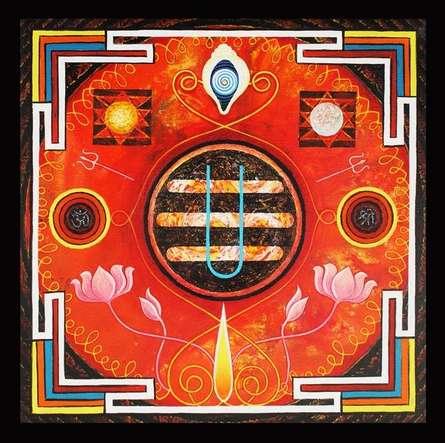 Motivational Acrylic Art Painting title Omkar by artist Ajay Meshram