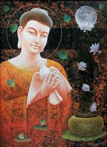 Religious Acrylic Art Painting title Arihant by artist Ajay Meshram