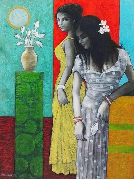 Figurative Acrylic Art Painting title Beyond by artist Ajay Meshram