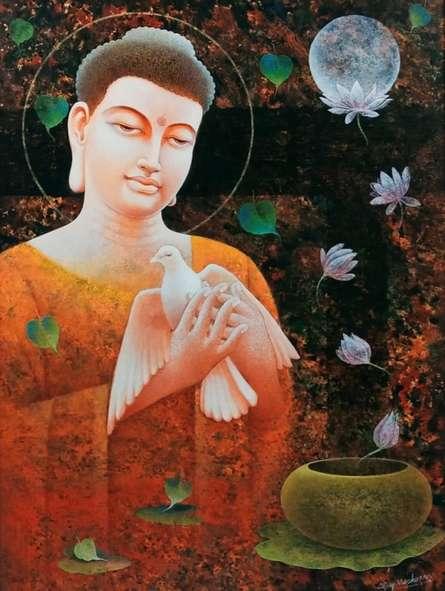 Religious Acrylic Art Painting title Buddha by artist Ajay Meshram