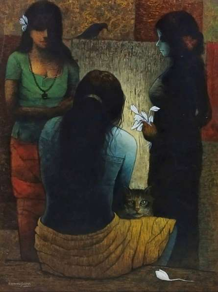 Figurative Acrylic Art Painting title Impression by artist Ajay Meshram