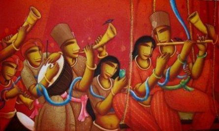 Samir Sarkar | Acrylic Painting title FESTIVEL on Canvas | Artist Samir Sarkar Gallery | ArtZolo.com