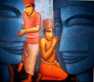Figurative Acrylic Art Painting title 'Meditation' by artist Samir Sarkar