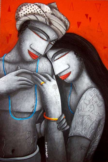 Figurative Acrylic Art Painting title 'Love Iv' by artist Samir Sarkar