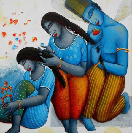 Figurative Acrylic Art Painting title 'Blue Love Family' by artist Samir Sarkar