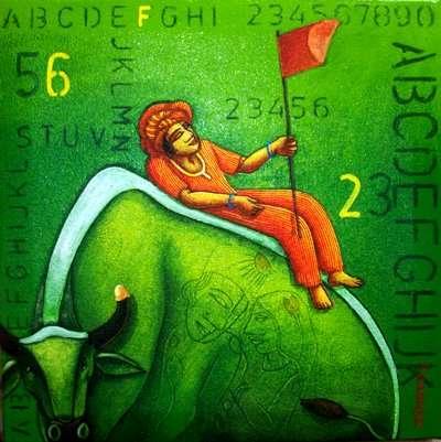 Green Bull   Painting by artist Samir Sarkar   acrylic   Canvas