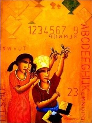 Figurative Acrylic Art Painting title 'The Kite' by artist Samir Sarkar