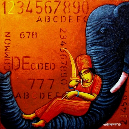 Figurative Acrylic Art Painting title 'Elephant' by artist Samir Sarkar