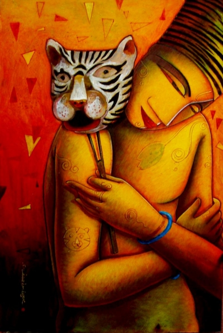 Figurative Acrylic Art Painting title 'The Mask I' by artist Samir Sarkar